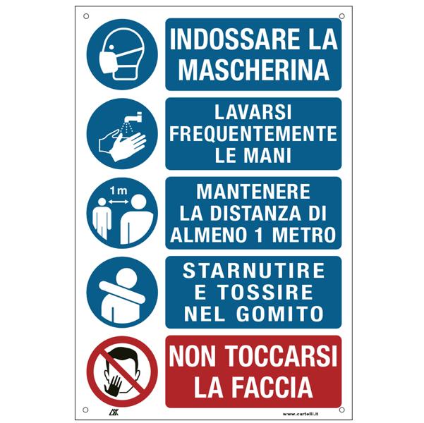 35325, CARTELLI SEGNALATORI, prodotti per comunita', Cartello alluminio 20x30cm con disposizioni igieniche generali, Segnaletica per coronavirus covid-19. cartello in alluminio spessore 5/10. con prescrizioni per i lavoratori per prevenire il contagio
